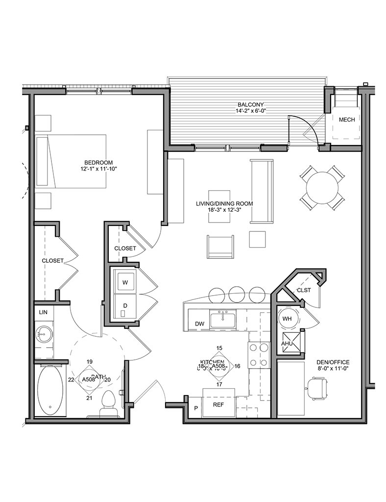 Station at Newtown Square - Floor Plan - Unit 1B-A ANSI