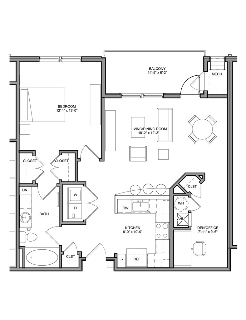 Station at Newtown Square - Floor Plan - Unit 1BD-A