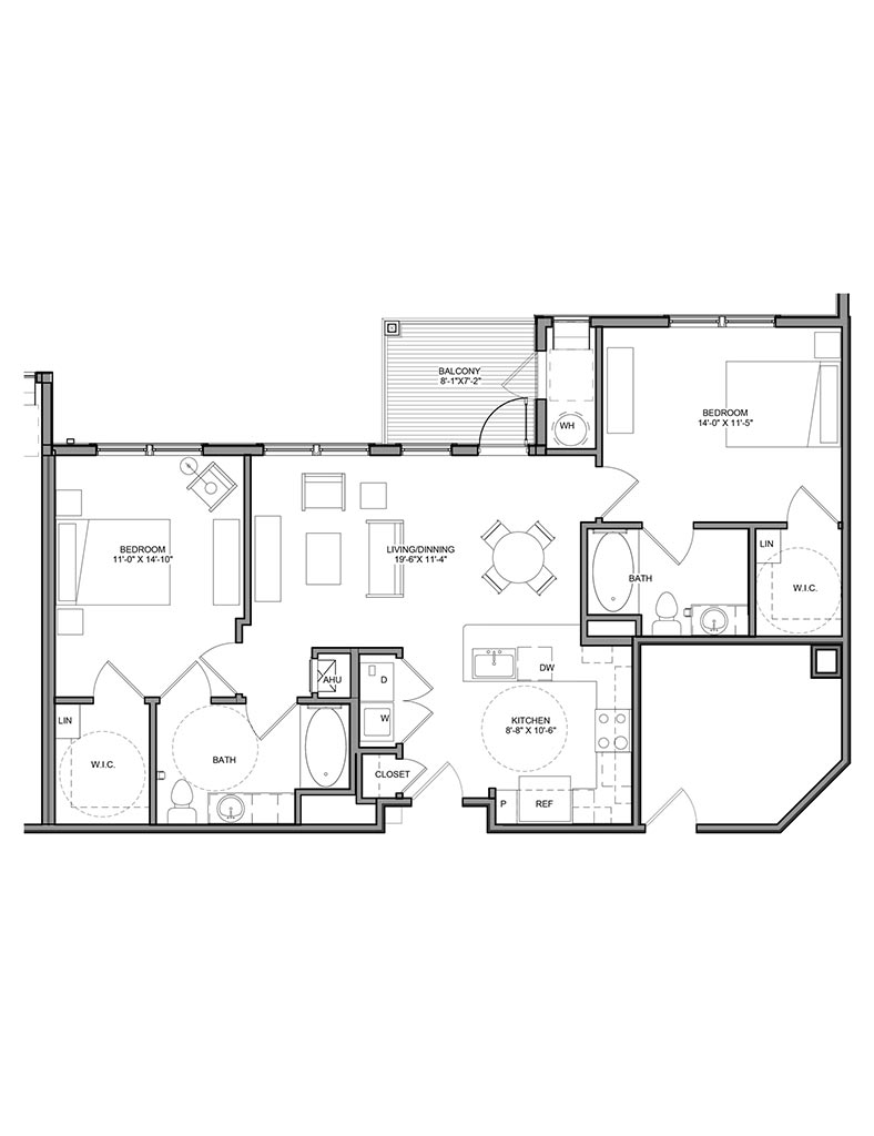 Station at Newtown Square - Floor Plan - Unit 2B-A ANSI