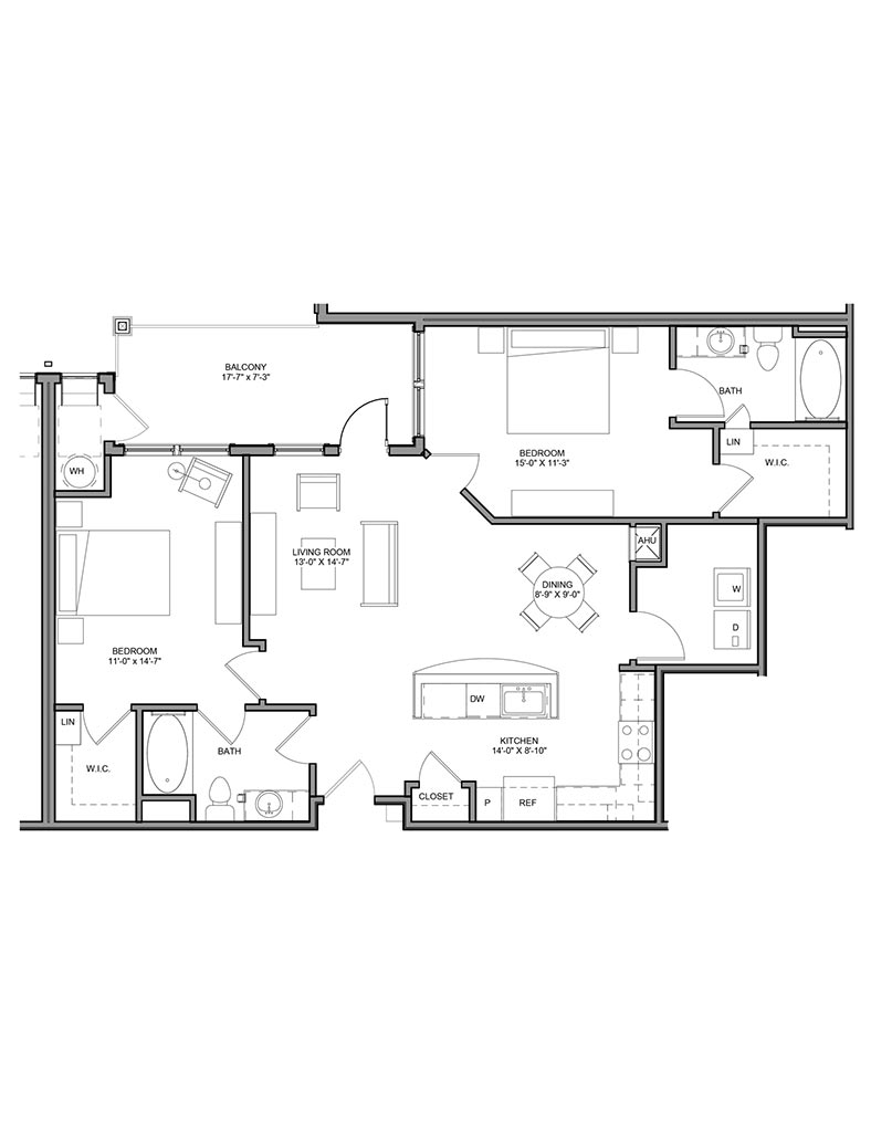 Station at Newtown Square - Floor Plan - Unit 2B-A1