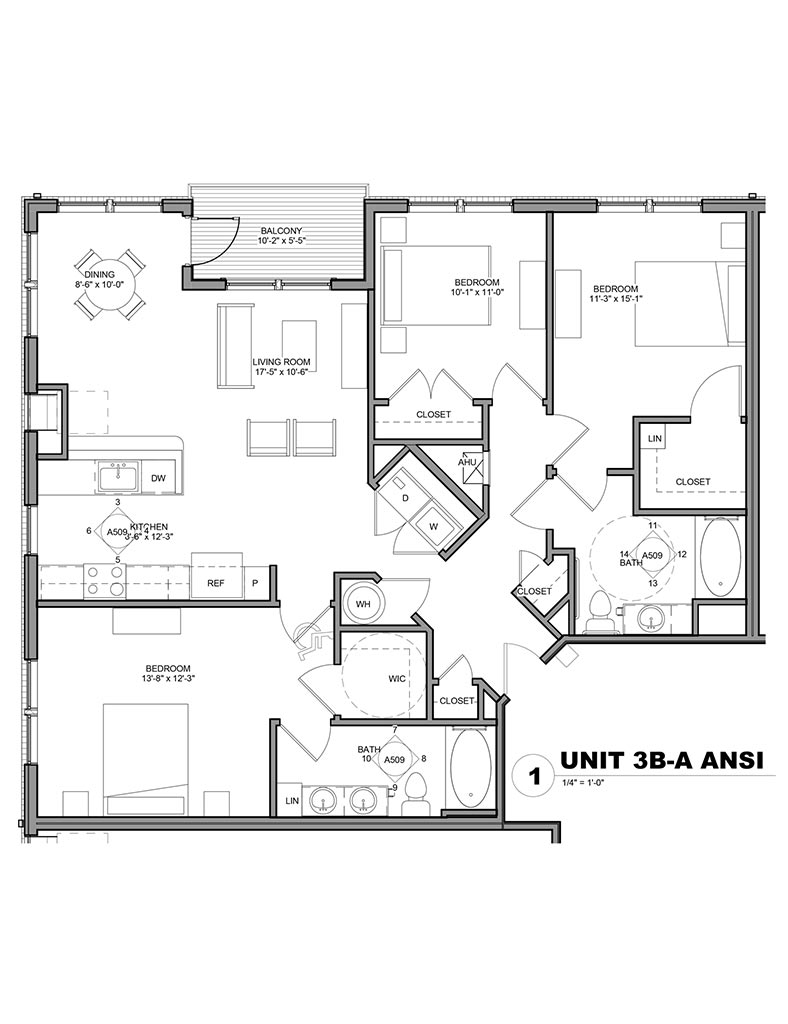 Station at Newtown Square - Floor Plan - Unit 3B-A ANSI