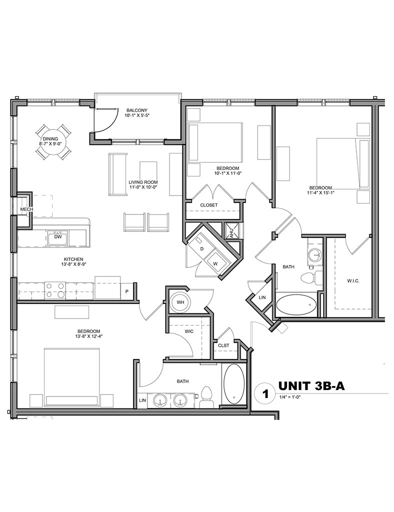 Station at Newtown Square - Floor Plan - Unit 3B-A